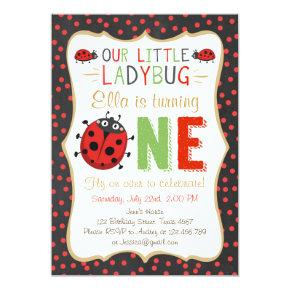 Little Ladybug Red Black White Birthday Invitations