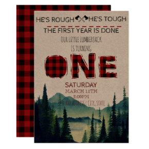 Little Lumberjack Birthday Invite - Buffalo Plaid