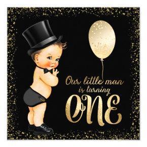 Little Man 1st Birthday Invitation