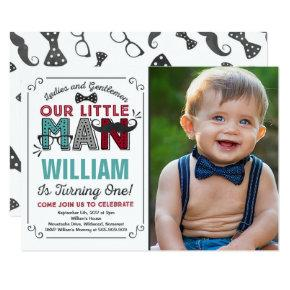 Little Man 1st Birthday Invitation Mustache Party