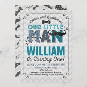 Little Man 1st Birthday Invitation Mustache Party
