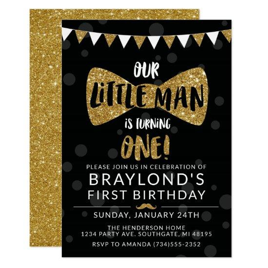Little man birthday invitation black gold invitations candied little man birthday invitation black gold invitations filmwisefo