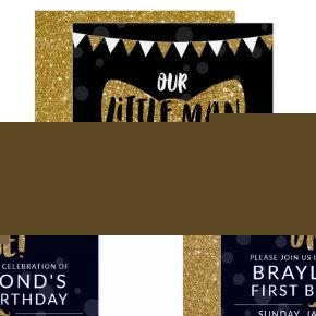 Little Man Birthday Invitations, Black & Gold Invitations
