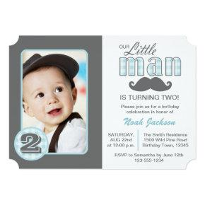 Little Man Birthday Mustache Photo Invitations