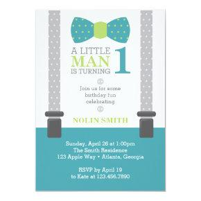 Little Man Birthday Party, Teal, Gray, Green Card