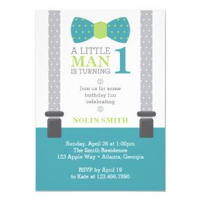 Little Man Birthday Party, Teal, Gray, Green Invitations