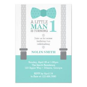 Little Man Birthday Party, Teal, Gray, Invitation