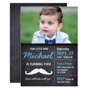 Little Man Birthday Photo Chalkboard Invitations