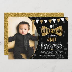 Little Man Black and Gold Photo Invitation