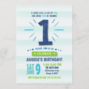Little Man Blue and Green 1st Birthday Invitation
