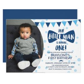 Little Man Blue Bow Tie Photo Invitation