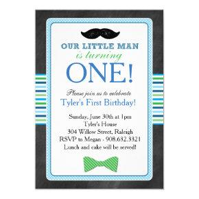 Little Man Bow Tie and Mustache Birthday (Blue) Card