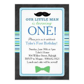 Little Man Bow Tie and Mustache Birthday (Blue) Invitation