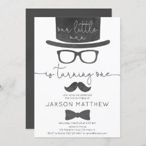 Little Man boy 1st birthday party Invitation