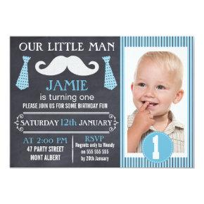 Little Man Chalkboard Birthday Party Invitations