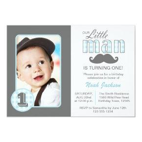 Little Man First Birthday Mustache Blue Grey Photo Invitations