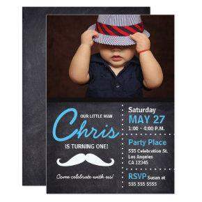Little Man is turning one - photo, mustache, chalk Invitations