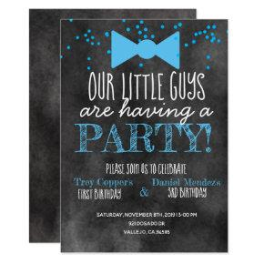 Little man joint birthday party chalkboard invite