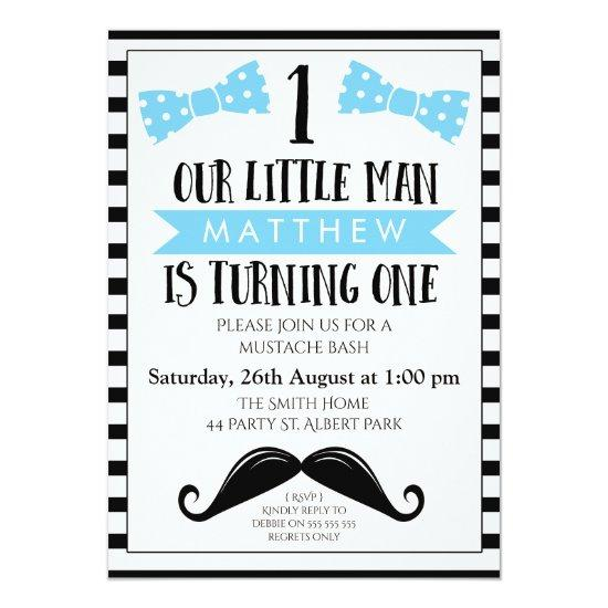 Little Man Mustache 1st Birthday Invitation Candied Clouds