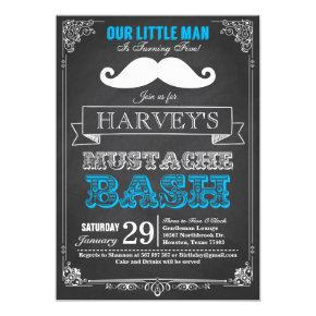 Little Man Mustache Bash Birthday Invitations