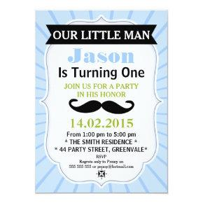 Little Man Mustache Birthday Invitations