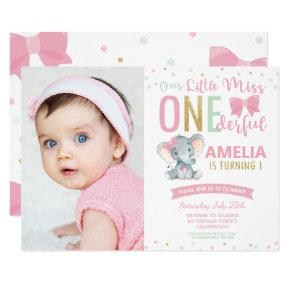 Little Miss ONEderful 1st Birthday Elephant Photo Invitation