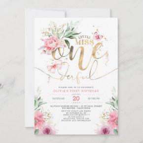 Little Miss ONEderful Pink Floral 1st Birthday Inv Invitation