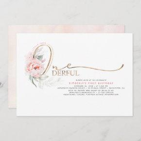 Little Miss ONEderful Pink Floral 1st Birthday Invitation