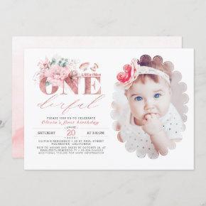 Little Miss ONEderful Rose Gold 1st Birthday Photo Invitation