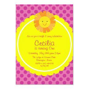 Little Miss Sunshine Sun Invitations Polka Dot