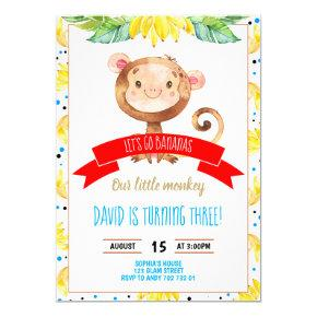 Little Monkey Bananas Jungle Boy Birthday Invitation