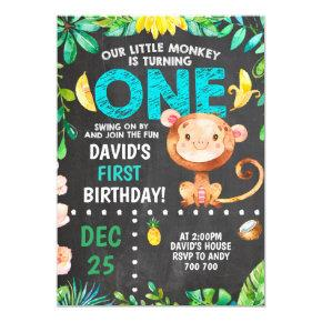 Little Monkey First Birthday Boy Party Invitation