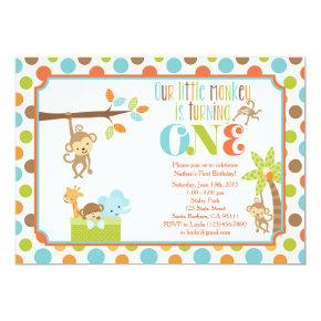 Little Monkey Jungle Animals First Birthday Invita Invitation