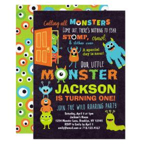 Little Monster 1st Birthday Invitation Boys