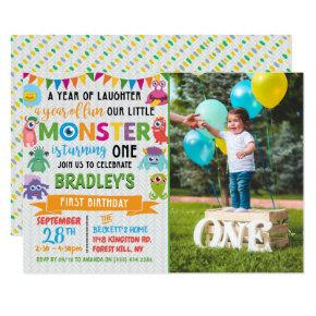 Little Monster 1st Birthday Photo Invitation