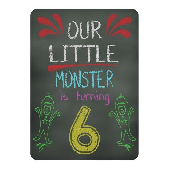 little monster birthday invitations 6 years old candied clouds