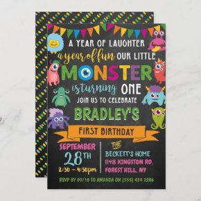 Little Monster Chalkboard 1st Birthday Invitation