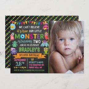 Little Monster Chalkboard 2nd Birthday Photo Invitation