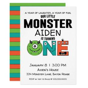 Little Monster First Birthday Invitations