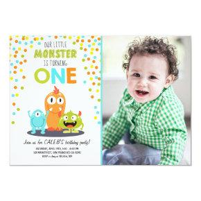 Little Monster First Birthday Party Invitation Boy