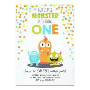 Little Monster First Birthday Party Invitations Boy