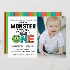 Little Monster First Birthday Photo Invitation