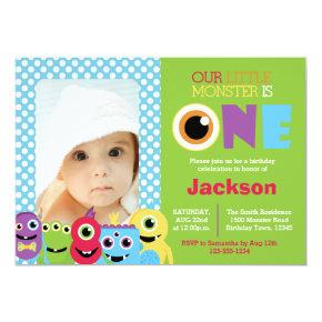Little Monster First Birthday Photo Invitation