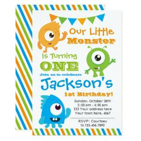 Little Monster Invitation, 1st birthday party Card