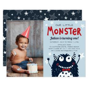 Little Monster Kids Birthday Party Photo Invitation
