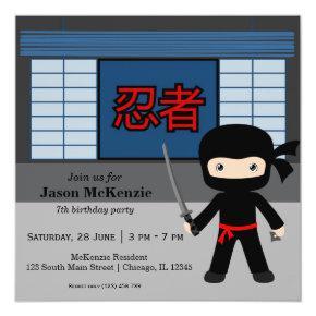 Little ninja birthday theme Invitations