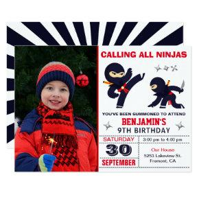 Little Ninja Warrior Kids Photo Birthday Party Invitation