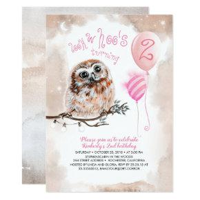 Little Owl Girls Pink Birthday Invitation