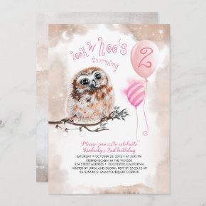 Little Owl Girls Pink Birthday Invitation