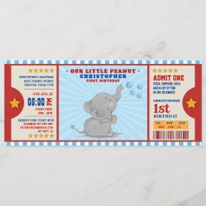 Little peanut elephant Ticket First Birthday Invitation